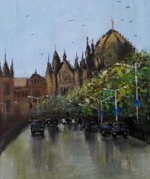 Sandeep Ghule | Acrylic Painting title Mumbai Series 5 on Canvas | Artist Sandeep Ghule Gallery | ArtZolo.com