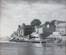 Banaras Ghat | Drawing by artist Prakash  Ghadge |  | ink | Canvas