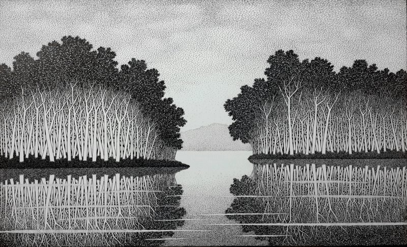 Reflection 14iii ink on canvas