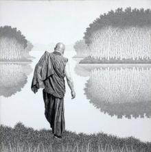 Figurative Pen-ink Art Drawing title 'Monk 17 Ii' by artist Prakash Ghadge