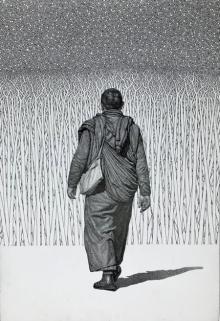Religious Pen-ink Art Drawing title 'Monk 19 Vii' by artist Prakash Ghadge