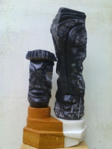 black marble Sculpture titled 'Couple 2' by artist Nema Ram