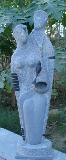 Black Marble Sculpture titled 'Nature 1' by artist Nema Ram