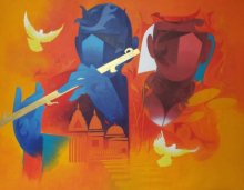 Music Of Banaras-1 | Painting by artist Ranjit Singh | acrylic | Canvas