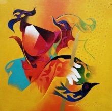 contemporary Acrylic Art Painting title Towards Happiness 2 by artist Ranjit Singh Kurmi