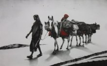 Journey with Horse | Painting by artist Yuvraj Patil | charcoal | Canvas
