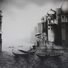 Cityscape Charcoal Art Drawing title Banaras Ghat by artist Yuvraj Patil