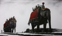 Animals Charcoal Art Drawing title 'Elephant Ride' by artist Yuvraj Patil