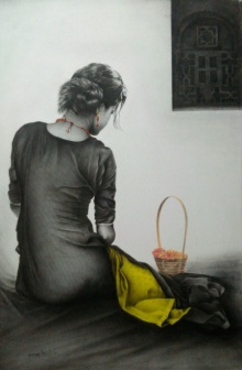 Figurative Charcoal Art Drawing title 'Flower Girl' by artist Yuvraj Patil