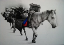 Animals Charcoal Art Drawing title 'Horse Carrier' by artist Yuvraj Patil