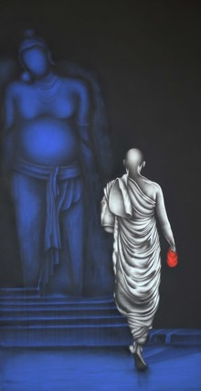 Religious Charcoal Art Painting title Monk 2 by artist Yuvraj Patil