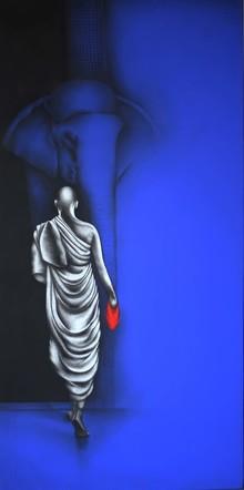 Religious Charcoal Art Painting title Monk 3 by artist Yuvraj Patil