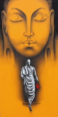Religious Charcoal Art Painting title Monk 5 by artist Yuvraj Patil