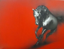 Charcoal Paintings | Drawing title The Horse on Canvas | Artist Yuvraj Patil