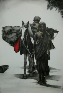 Untitled | Drawing by artist Yuvraj Patil | | charcoal | Canvas