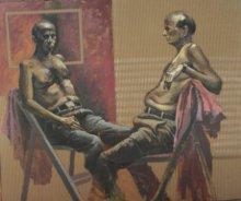 Figurative Acrylic Art Painting title Talking by artist Amol Satre