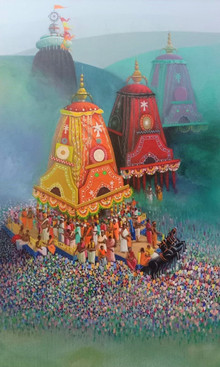 Religious Acrylic Art Painting title Rathyatra 2 by artist Amol Satre