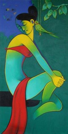 Figurative Acrylic Art Painting title Secret Gossip by artist Navnath Chobhe