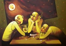 Navnath Chobhe | Acrylic Painting title Drinker on Canvas
