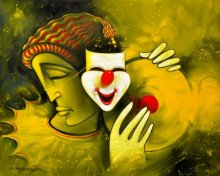 Figurative Acrylic Art Painting title Life by artist Navnath Chobhe