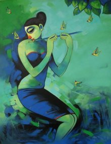 Figurative Acrylic Art Painting title Nature lover by artist Navnath Chobhe