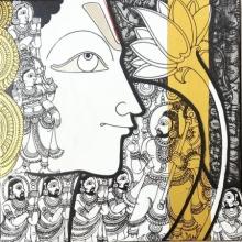 Ramesh Gorjala | Acrylic Painting title Vishnu on Canvas | Artist Ramesh Gorjala Gallery | ArtZolo.com