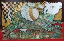 Ramesh Gorjala | Acrylic Painting title Kamadhenu 2 on Canvas | Artist Ramesh Gorjala Gallery | ArtZolo.com