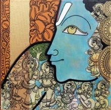 Ramesh Gorjala | Acrylic Painting title Vishnu 2 on Canvas | Artist Ramesh Gorjala Gallery | ArtZolo.com