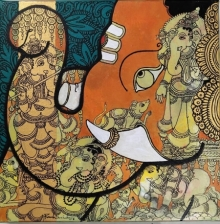 Ramesh Gorjala | Acrylic Painting title Ganesha 3 on Canvas | Artist Ramesh Gorjala Gallery | ArtZolo.com