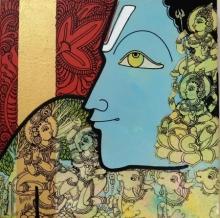 Ramesh Gorjala | Acrylic Painting title Krishna on Canvas | Artist Ramesh Gorjala Gallery | ArtZolo.com