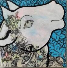 Ramesh Gorjala | Acrylic Painting title Kamadhenu 1 on Canvas | Artist Ramesh Gorjala Gallery | ArtZolo.com