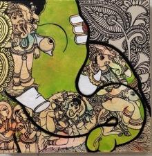 Ramesh Gorjala | Acrylic Painting title Ganesha 1 on Canvas | Artist Ramesh Gorjala Gallery | ArtZolo.com
