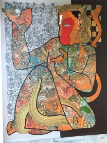 Ramesh Gorjala | Acrylic Painting title Hanuman on Canvas | Artist Ramesh Gorjala Gallery | ArtZolo.com