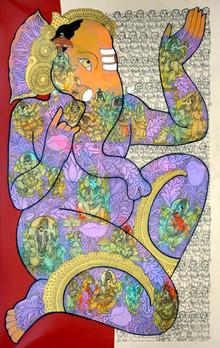 Religious Acrylic Art Painting title Lord Ganesha by artist Ramesh Gorjala