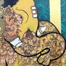 Ramesh Gorjala | Acrylic Painting title Ganesha 2 on Canvas