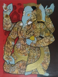 Ramesh Gorjala | Acrylic Painting title Ganesha (Vinayaka) on Canvas | Artist Ramesh Gorjala Gallery | ArtZolo.com