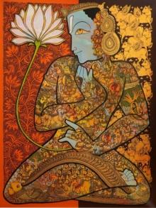 Ramesh Gorjala | Acrylic Painting title God Vishnu on Canvas | Artist Ramesh Gorjala Gallery | ArtZolo.com