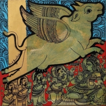 art, painting, acrylic, canvas, religious, kamadhenu