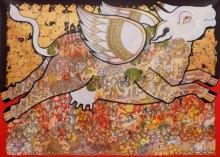 art, painting, acrylic, canvas, relaigious, kamadhenu