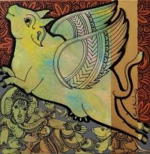 Ramesh Gorjala | Acrylic Painting title Kamadhenu 6 on Canvas