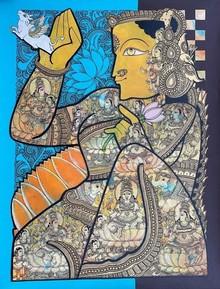 Religious Acrylic Art Painting title Laxmi by artist Ramesh Gorjala