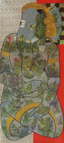 Religious Mixed-media Art Painting title Lord Ganesha by artist Ramesh Gorjala