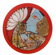 Ramesh Gorjala | Acrylic Painting title Lord Vishnu on Canvas | Artist Ramesh Gorjala Gallery | ArtZolo.com