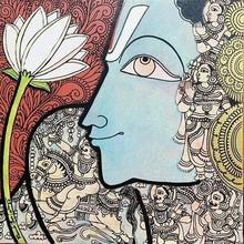 Religious Mixed-media Art Painting title Lord Vishnu by artist Ramesh Gorjala