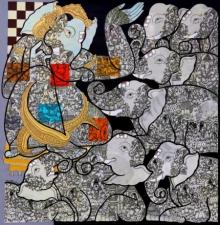 Religious Mixed-media Art Painting title Vighnaharta by artist Ramesh Gorjala