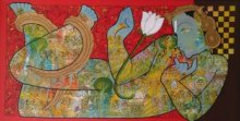 Ramesh Gorjala | Mixed-media Painting title Vishnu on Canvas | Artist Ramesh Gorjala Gallery | ArtZolo.com