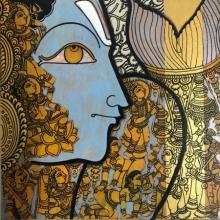 art, painting, acrylic, canvas, religious, god, lord vishnu