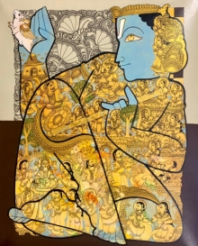 Religious Acrylic Art Painting title 'Vishnu 5' by artist Ramesh Gorjala
