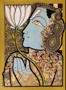 Religious Acrylic Art Painting title Vishnu 6 by artist Ramesh Gorjala