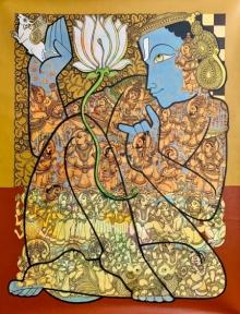 Religious Acrylic Art Painting title Lord Vishnu 6 by artist Ramesh Gorjala